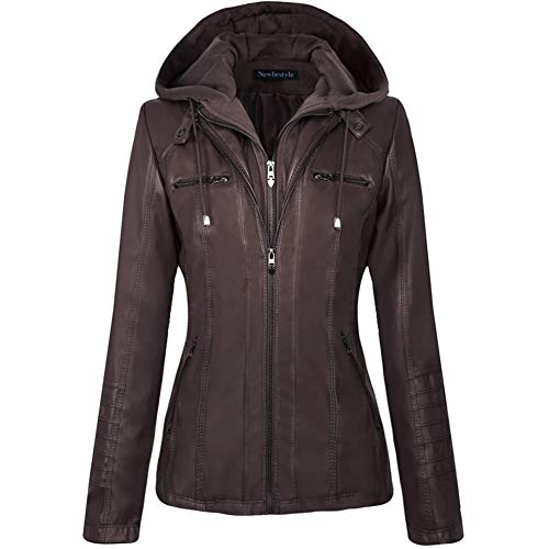Newbestyle Women's Hooded Faux Leather Moto Biker Short Jacket Quilted Zip Up Coats Dark Brown Large