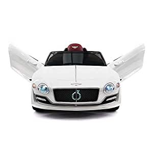 Moderno Kids Bentley EXP Children Ride-On Car with R/C Parental Remote Control 12V Battery Power + Foam Rubber Wheels + Leather Seat + 3 Point Seat Belt + MP3 Music Player (White)