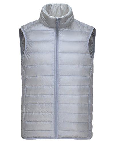 Vcansion Men's Warm Packable Down Vest Lightweight Stand Collar Down Jacket Grey US M/Label XL