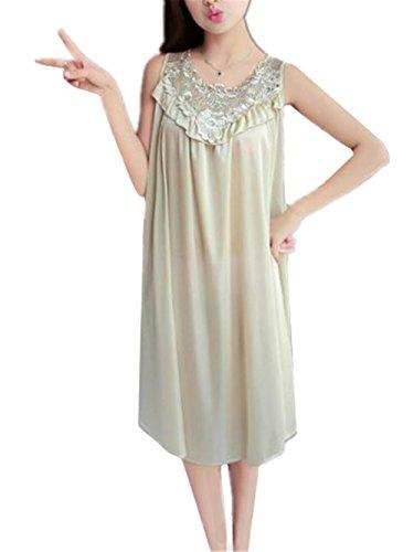 Pigiama Notte Donna AILIENT da Senza Morbida Pigiami Camicia Comoda Pigiama per Raso Maniche Abito in Khaki da Notte Donna X1wpqdw