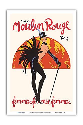 Gruau Rouge Moulin - Pacifica Island Art - Moulin Rouge Ball - Paris, France - Femmes Burlesque Dancers - Vintage Cabaret Casino Poster by René Gruau c.1960s - Master Art Print - 12in x 18in