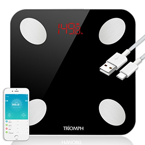 Rechargeable Scale (Triomph Rechargeable Smart Bluetooth Scale, USB Charging Body Fat Scale with IOS and Android App Digital Bathroom Scale for Weight, Body Fat, Water, Muscle, BMI, BMR, Bone Mass and Visceral Fat, Black)