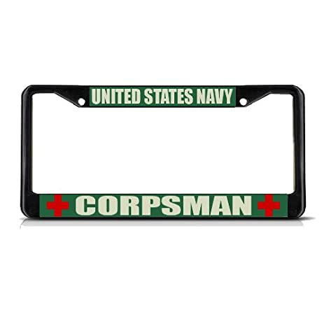 united states navy corpsman military black metal license plate frame tag border - Military License Plate Frames