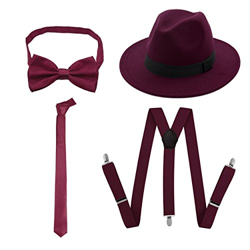 TDmall Clothing Series 1920s Mens Accessory Set Hard Felt Wide Brim Panama Hat,Y-Back Elastic Suspenders,Pre Tied Bow Tie,Skinny Tie (Burgundy) -