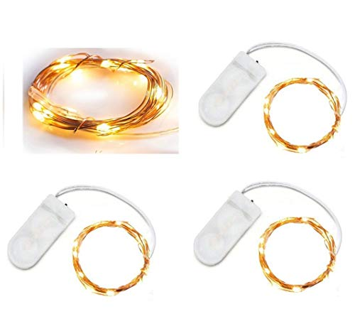 3PC LED Moon Lights 20 Micro Starry LEDs on Copper Extra Thin Copper Wire, 2 x CR2032 Batteries Required and Included, 3.5 Ft (1m) for DIY Wedding Centerpiece or Table Decorations (Warm White)