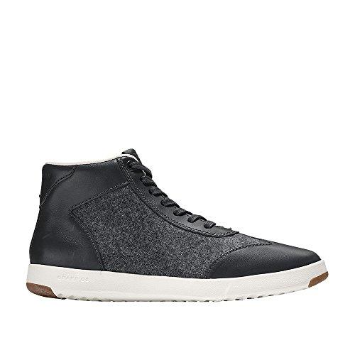 Cole Haan Women's Grandpro High Top Sneaker 7 Gray Pinstripe Oiled Vachetta-Gray Flann