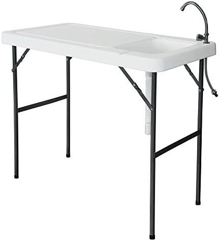 Mesa de camping con fregadero 115 x 60 cm de altura mesa