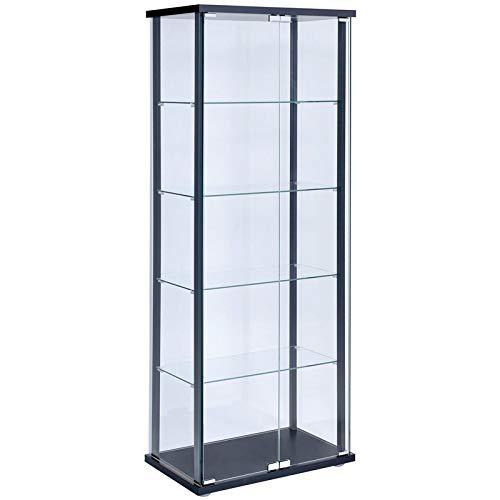BOWERY HILL 5 Shelf Contemporary Glass Curio Cabinet with Black Ladder Frame