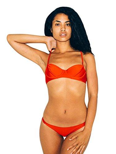 American Apparel Women's Ruched Brazilian Bikini Bottom Size XS Poppy