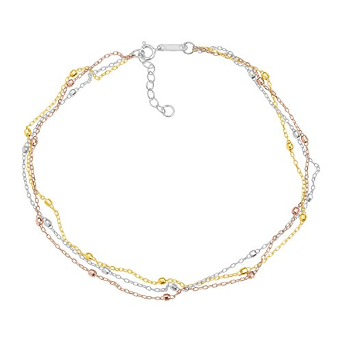(Eternity Gold Triple-Strand Beaded Anklet Bracelet in 14K Three Tone Gold)