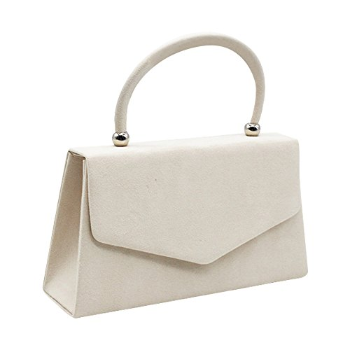 Women's Cckuu Evening Handbag Shoulder Burgundy Prom Bag Suede Ivory Clutch Velvet Bag Envelope Badaq