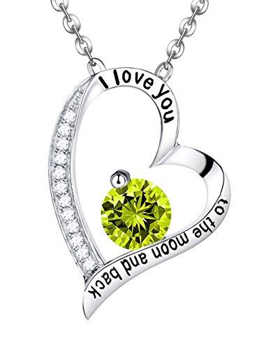 August Birthstone Green Peridot Swarovski Love Heart Pendant Birthstone Necklace Sterling Silver Gemstone Jewelry Birthday Anniversary Gifts For Her