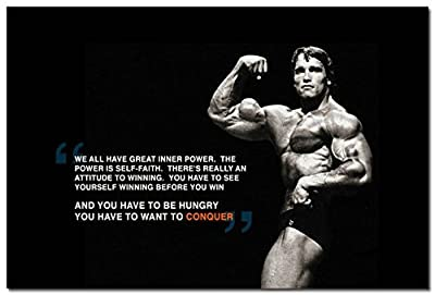 "Tomorrow sunny CONQUER - Bodybuilding Motivational Silk Poster 24x36"" Arnold Schwarzenegger"