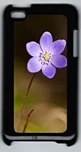 Apple iPod 4 Case and Cover - Violet flower PC Case Cover for iPod 4/ iPod 4th Generation - Black
