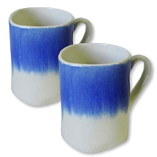 AllAsta Coffee Mugs Cups with Handle Pottery Ceramic Handmade Tea Crazed Rustic Vintage Aged Looked Mug Indigo Blue and White Set Pack of ()