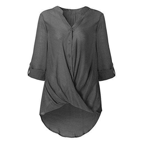 Unie Longues Femmes Couleur Bouton Asymtrie Mode SANFASHION Shirt Tops Chemise Hiver Blouse Manches amp;Automne Hem Gris lgant wBIqIzH