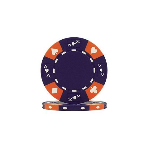 Casino Ace Poker Chip - Trademark Poker Ace/King Suited Tri-Color 50 Poker Chips, 14gm, Blue