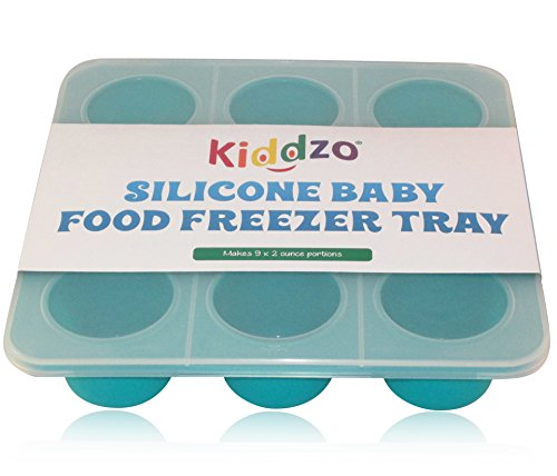 Homemade Baby Food Storage Solution, Silicone Freezer Tray with Lid. Large 2 Ounce Portions. BPA Free, Non Toxic.