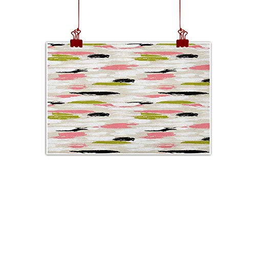 (Sunset glow Wall Art Print Home Decor Art,Bold Pattern with Thick Brushstrokes and Stripes Hand Painted Boho Print, Coral Black Olive Green 20
