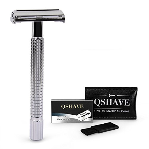 QSHAVE Double Edge 4 inch Long Handle Safety Razor Twist Butterfly Open Shinning Finish (1 Razor + 5 pcs Titanium Coated Blades)