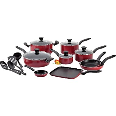 T-fal A777SI64 Initiatives Nonstick Inside and Out Dishwasher Safe 18-Piece Cookware Set, Red