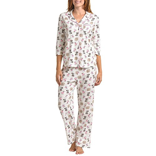 Dog Print Pajama - Karen Neuburger Kn Women's Soft Knit Pajamas With 3/4 Sleeves (Ivory With Dogs Print, X-Large)