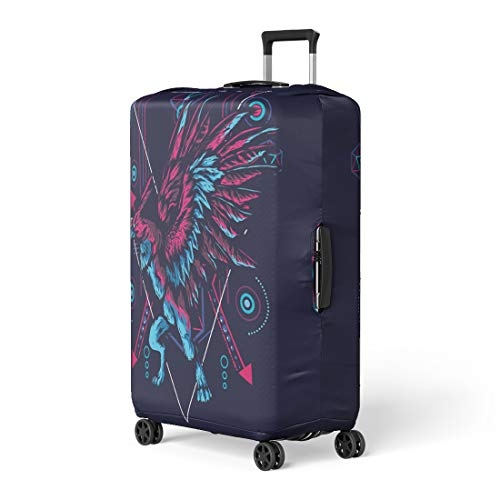 Semtomn Luggage Cover Red Abstract Mythological Eagle in Sacred Geometric Ancient Animal Travel Suitcase Cover Protector Baggage Case Fits 18-22 Inch