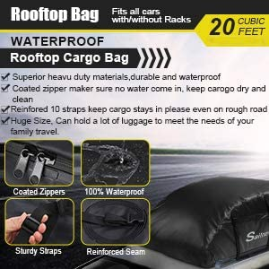 Suvs Housewives 20 Cubic ft Car Roof Bag Top Carrier Cargo Storage Rooftop Luggage Waterproof Soft Box Luggage Outdoor Water Resistant for Car with Racks,Travel Touring,Cars,Vans