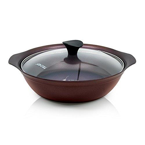TECHEF Art Pan Collection Soup Pot with Glass Lid, 3.7 quart, Aubergine Purple