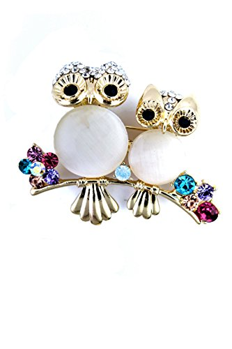Nick Angelo's Owl Brooch for Women Fashion Jewelry Lovely Elegant Design Mother Baby Owes with Secured -
