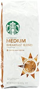 Starbucks Whole Bean Coffee, Breakfast Blend,  Medium, 16-Ounce Bags (Pack of 2)