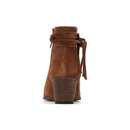 Collections Frau Boots, Leder, Flechtdetail Gre 39 Braun La Redoute