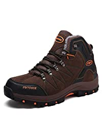 GLSHI Hombres Senderismo Zapatos Otoño Invierno Al Aire Libre Zapatillas Altas Antideslizantes Zapatos para Caminar Ocasionales