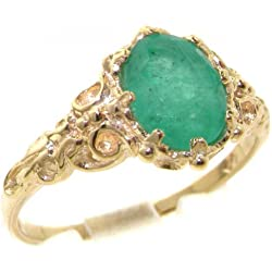 10k Yellow Gold Natural Emerald Womens Solitaire Ring - Sizes 4 to 12 Available