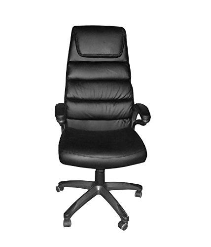 Meubletmoi–Silla de Escritorio Negro–Asiento Acolchado ergonomico Gran Confort Bank