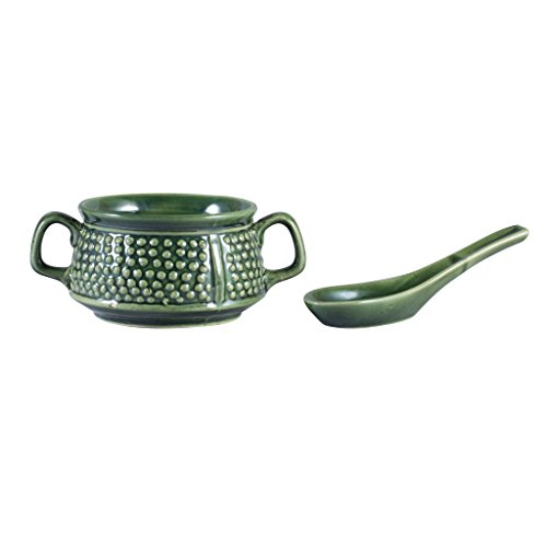 Caffeine Ceramic Handmade Green Bubble Double Handled Soup Bowl  Set of 1