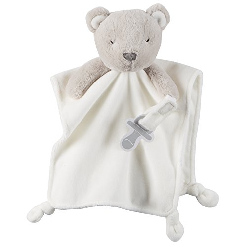 Carter's Cuddle Plush with Pacifier Loop Bear, Ivory