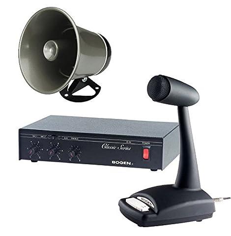 Bogen 10 Watt Commercial Paging System with Amplifier Mixer Speaker and Mic - Bogen Intercom