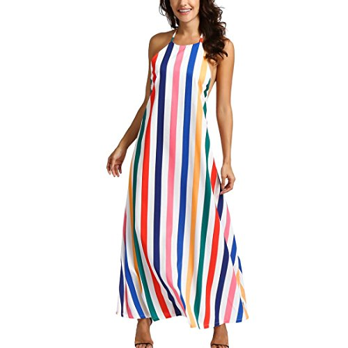Dresses Rainbow Belt Clothing Womens (Women's Rainbow Dress, E-Scenery Summer Printing Striped Backless Off Shoulder Sleeveless Dresses (Multicoloured, Large))