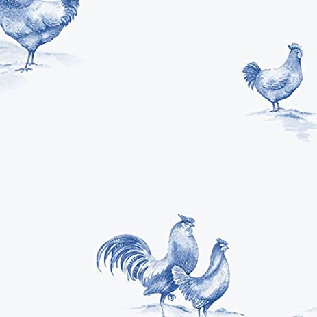 Ke29932 Kitchen Style 2 Chickens Poultry White Blue Galerie