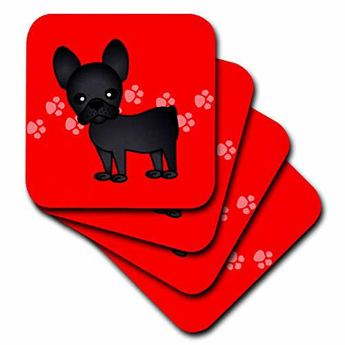 3dRose cst_25318_1 Cute Black Brindle French Bulldog Red with Pawprints-Soft Coasters, Set of 4
