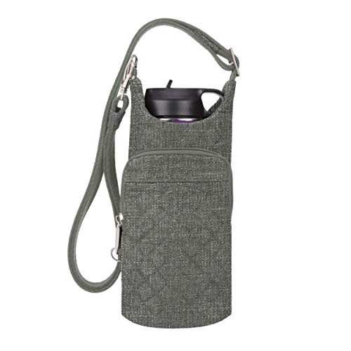 Travelon Anti-Theft Boho Water Bottle Tote Sling, Gray Heather, One Size