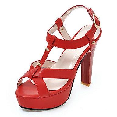 LvYuan Tacón Robusto-Gladiador Zapatos del club-Sandalias-Vestido Informal Fiesta y Noche-Semicuero-Negro Rosa Rojo Blanco Beige beige