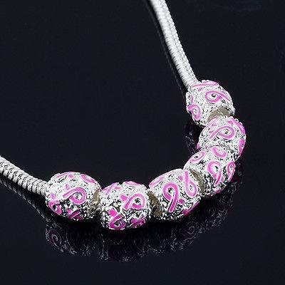Pink Awareness Charm Ribbon (FidgetFidget Bracelets 8X Silver Pink Ribbon Beads Breast Cancer Awareness Charms FIT Euro)