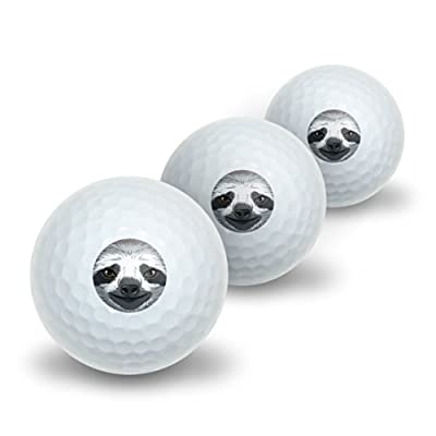 Sloth Face Novelty Golf Balls 3 Pack