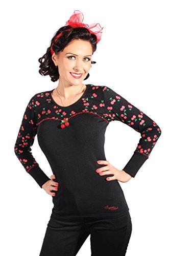 SugarShock Damen Cherry Rockabilly pin up retro Kirschen langarm Shirt Longsleeve S