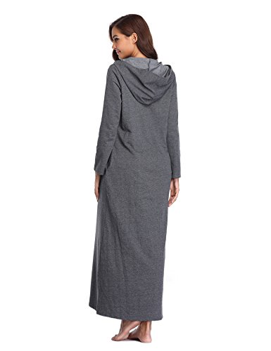 c94815cebf Lusofie Robes for Women Zipper Front Hoodie Long Bathrobe with Pockets  Loungewear