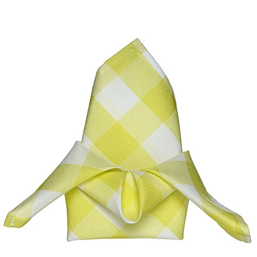 BalsaCircle 20 pcs 15x15-Inch Yellow on White Gingham Checkered Polyester Luncheon Napkins - for Wedding Party Restaurant Dinner (Napkins Gingham Yellow)