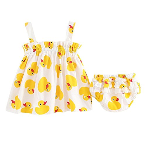 Jarsh Toddler Kids Baby Girls Cute Little Duck Print Dress+Shorts Outfits Clothes Set (24M(18-24Month)) Yellow]()