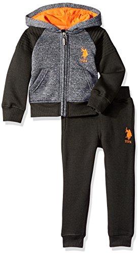 U.S. Polo Assn. Boys' Toddler Fleece Jog Set, with Grey/Black, -